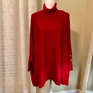 Joseph A Red Sweater with Gold Button Trim Sz. L